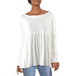 Free People Womens Forever Your Girl Knit Babydoll Pullover Top