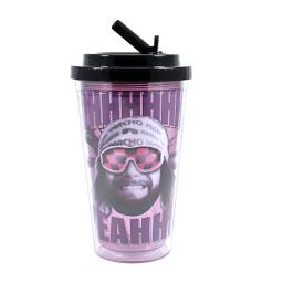 Macho Man Ohhhhh Yeahhh 16oz Plastic Flip Straw Cold Cup Randy Savage WWF WWE
