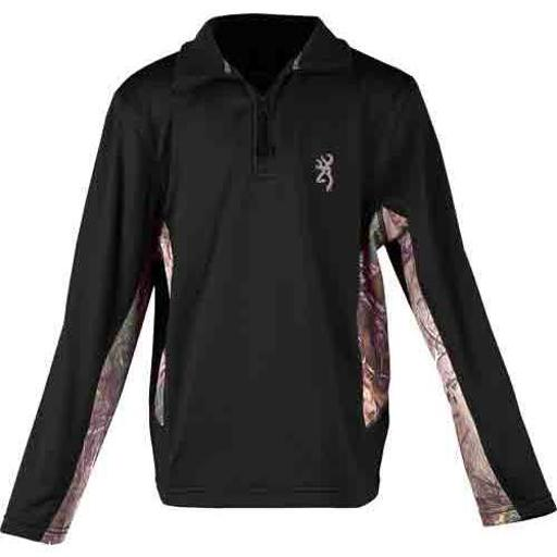 BROWNING BRI8009099L BG YOUTH'S L.SLEEVE PULLOVER 1/4 ZIP LARGE BLACK/CAMO thumbnail