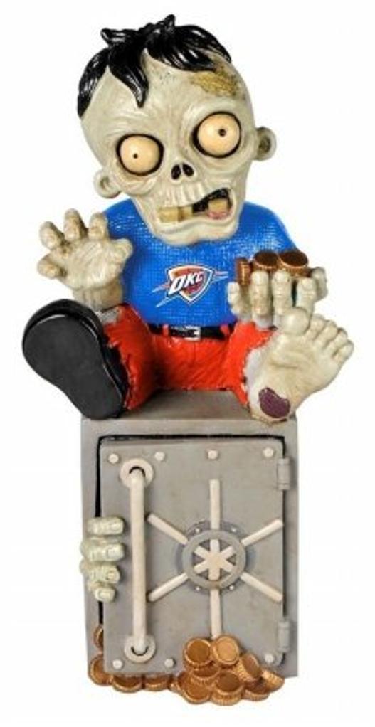 NBA Oklahoma City Thunder Sitting On Logo Zombie Figurine, Blue