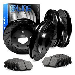 [COMPLETE KIT] Black Drilled Slotted Brake Rotors & Semi-Met Pads CBC.4703302