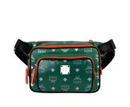 MCM Men's Resnick Eden Green Leather Reflective Nylon Belt Bag MUZ9ARA09G5001