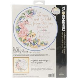 """To Have & To Hold Wedding Record Counted Cross Stitch Kit-12"""" Round 14 Count 3892"""