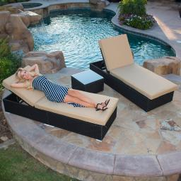 Belleze Rattan Wicker Aluminum 3 pc Chaise Lounge Chair w/ Side Table Set (Black)