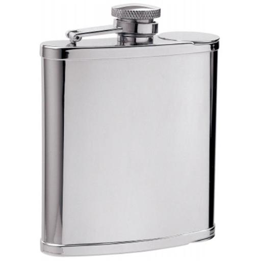 Two Shot Cups in Flask - 6 oz -2 built in shot cups