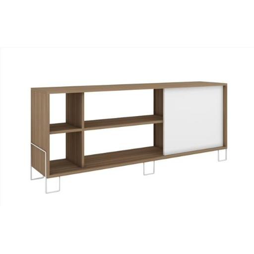 Manhattan Comfort 10AMC47 Accentuations by Eye-Catching Nacka TV Stand 2 with 4 Shelves & 1 Sliding Door in an Oak Frame with a White Door & Feet