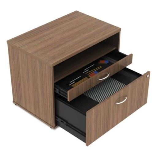 22.86 H x 29.5 W x 19.12 D in. Open Office Series Low File Cabinet Credenza - Walnut