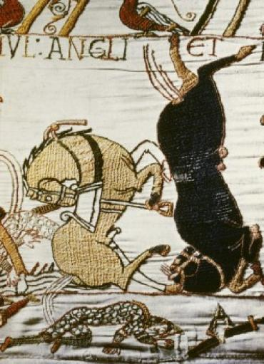 Bayeux Tapestry: Battle of Hastings-Norman Cavalry Repulsed, 11th Century, Tapestry/Textiles, Wool & linen, Musee de la Reine, Bayeux, France.