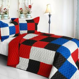 Rational Thinking 3PC Vermicelli-Quilted Patchwork Quilt Set-Full/Queen Size
