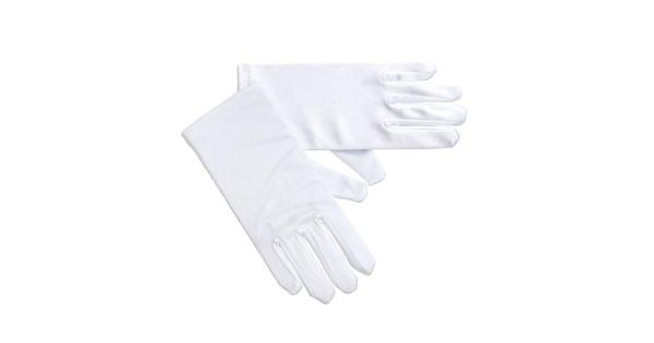 Girls White Matte Satin Pearl Cross Communion Flower Girl Gloves 0-14