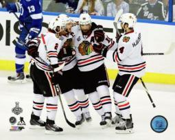 Duncan Keith, Jonathan Toews, Patrick Sharp, & Niklas Hjalmarsson Goal Celebration Game 5 of the 2015 Stanley Cup Finals Photo Print PFSAASB11101
