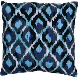 "Blue Ikat Needlepoint Kit-12""X12"" Stitched In Yarn DW2562"