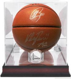 Steph Curry + Klay Thompson Signed Basketball in NBA Display Case