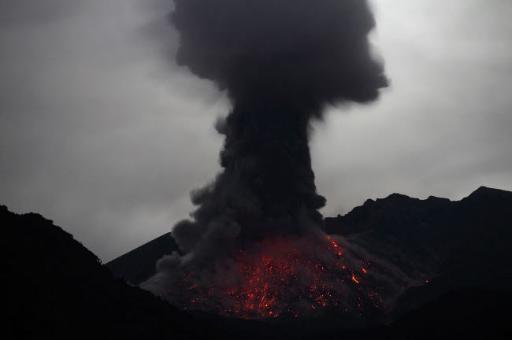 Night time explosive eruption of Sakurajima volcano, Japan Poster Print by Richard Roscoe/Stocktrek Images