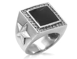 David Sigal Mens Star Ring with Black Enamel and Synthetic Crystals in Stainless Steel