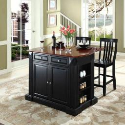 "Crosley Drop Leaf Breakfast Bar Top Kitchen Island in Black Finish with 24"" Black School House Stools"