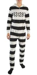 American Rag Jailbird Prison Striped Union Suit Outfit One Piece Costume