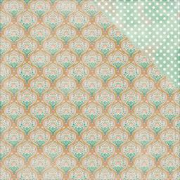 "Imagine Double-sided Cardstock 12""x12""-#3 Multi Paisly Damask/white Dots Green"