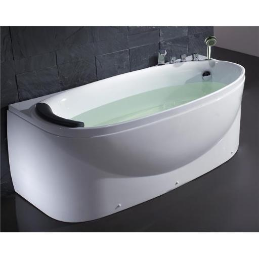 White Right Drain Acrylic 6 ft. Soaking Tub with Fixtures