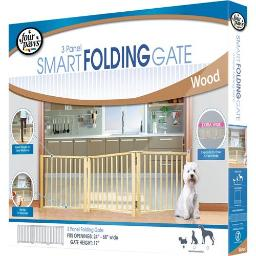 FOUR PAWS PRODUCTS LTD FREE STANDING FOLDING 3 PANLE GATE 30-64 IN WOOD 435251