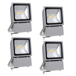 Yescom 100W LED Flood Light 3000K Warm White IP65 Waterproof Outdoor Work Light Security Night Lamp for Garden, 4 Pack