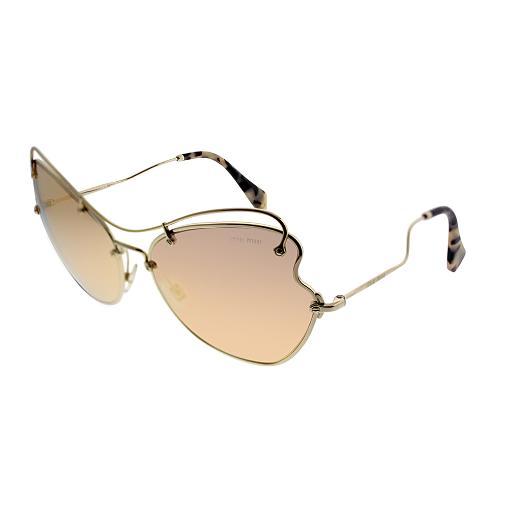 f1fe42586 Miu Miu Scenique Collection MU 56RS ZVN6S061 Pale Gold Metal Cat-Eye  Sunglasses Rose Gold Mirror Lens