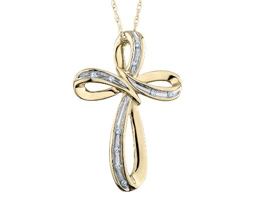 Diamond Infinite Faith Cross Pendant Necklace in 10K Yellow Gold with Chain