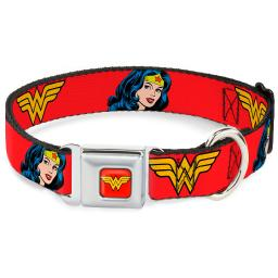 Dog Collar WWA-Wonder Woman Red - Wonder Woman Logo Face Repeat Red - Large Pet Collar