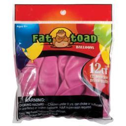 "Fat Toad Balloons Round 12"" 12/Pkg Fuchsia Pink"