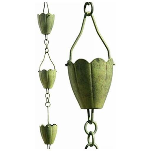 Patina Products R253H Verdigris Flower Cup Rain Chain - Half Length