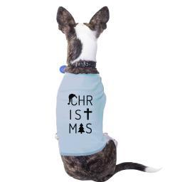 Letters Christmas Outfit For Pet Cute Small Pet Shirt Blue Cotton