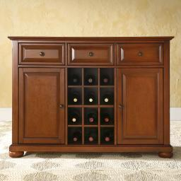 Crosley Alexandria Buffet Server / Sideboard Cabinet with Wine Storage in Classic Cherry Finish