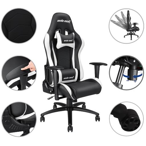Anda Seat Racing Chair Gaming PVC Leather Adjustable Recliner Swivel High-back Headrest & Lumbar Cushion E-sports