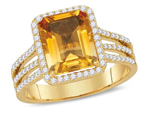 2.75 Carat (ctw) Lab Created Citrine Ring in 14K Yellow Gold with Diamonds