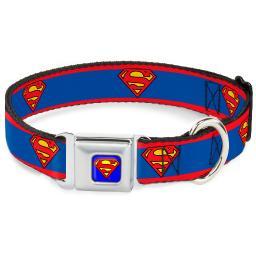 "Dog Collar SMC-Superman Blue - Superman Shield Stripe Red Blue - Large 15-26"""