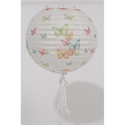 Northlight Seasonal 31366706 9 in. LEau de Fleur White Butterfly and Floral Chinese Paper Lantern with White Tassels