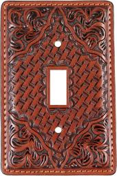 3D Western Switch Plate Tooled Floral Basketweave SP11