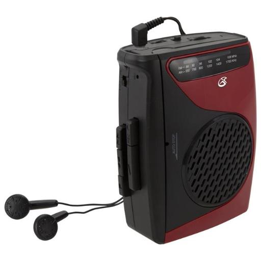 Dpi-Gpx-Personal & Portable CAS337B Cassette Player, Red & Black - 3.54 x 1.57 x 4.72 in.
