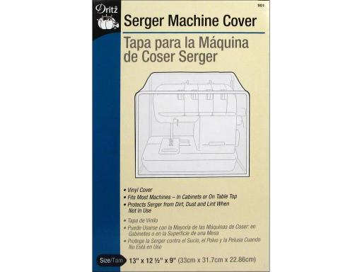 Dri901 dritz serger dust cover 13x12 5x9 clear Dritz Sewing Machine Accessories for sewing machines and sergers Serger Cover- The 13x12 5x9 vinyl serger cover fits most machines in a cabinet or on a table top Protects serger from dust dirt and lint when not in use