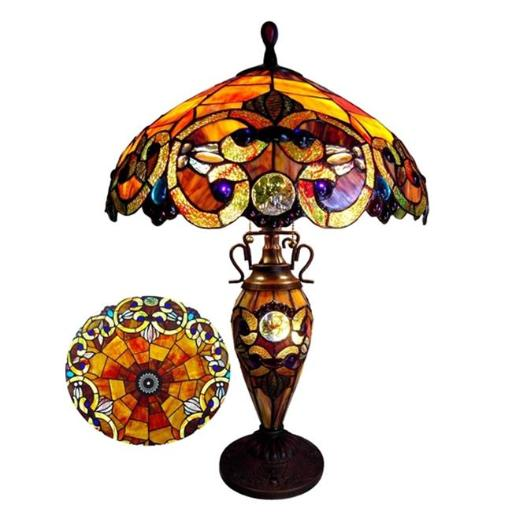 Chloe CH18648SV18-DT3 18 in. Shade Lighting Demetra Auror Style 3 Light Victorian Stained Glass Double Lit Table Lamp - Antique Bronze