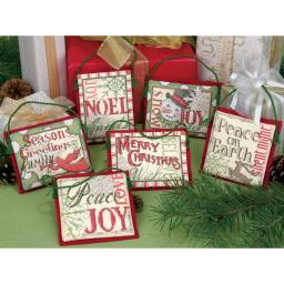 "Christmas Sayings Ornaments Counted Cross Stitch Kit-Up To 4"" Tall 14 Count Set Of 6 8827"