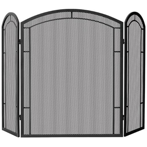 3 Panel Black Wrought Iron Screen