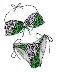Green, Black and White Animal Print String Bikini