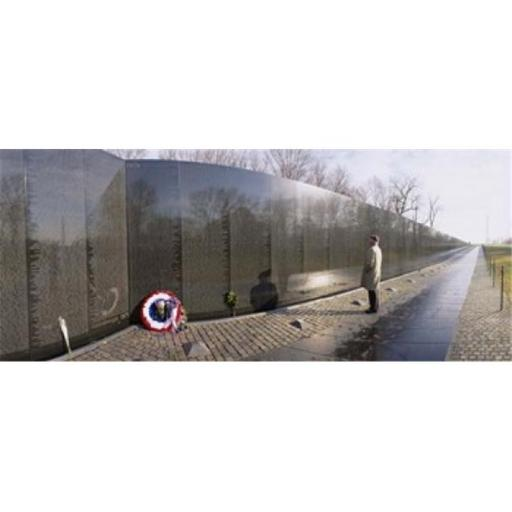 Panoramic Images PPI26216L Side profile of a person standing in front of a war memorial Vietnam Veterans Memorial Washington DC USA Poster Print by