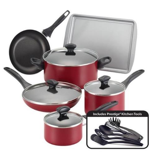 Farberware 21807 Dishwasher Safe Nonstick 15-Piece Cookware Set, Red