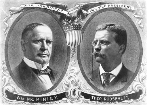 Vintage presidential election poster of President William McKinley and his running mate, Theodore Roosevelt. Poster Print