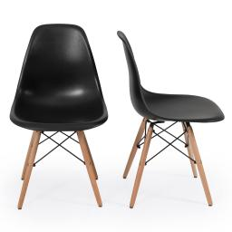 Belleze Set of (2) Classic DSW Molded Plastic Side Chair Dining Chairs Modern Seat Backrest with Natural Wooden Legs, Bl