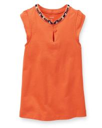 Carter's Baby Girls' Embroidered Top - Orange - 3 Months