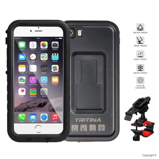 Tritina Bike Mount + Waterproof Case for iPhone 7, Shockproof Smartphone Case Hold on Motorcycle, Bicycle IP68 (Black) 0JJ9OX5P7SZYPAPO