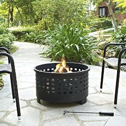Crosley Hudson Basket Weave Firepit in Black